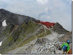 4-20山頂からみた槍ケ岳山荘