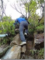 2-44祖母山への急登、岩溝、ハシゴ、ロープにとりついて上ります