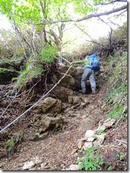2-43祖母山への急登、岩溝、ハシゴ、ロープにとりついて上ります