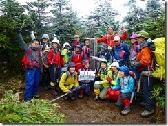 18西吾妻山での登頂写真、展望がないのが残念