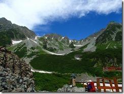 2-07涸沢カール、左奥穂高岳、右は涸沢岳