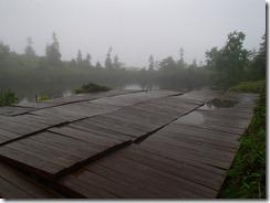 2-05鏡池、天気が悪く残念、良ければ槍ケ岳の眺望