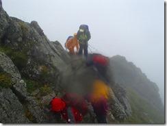 3-04水晶岳への岩場の上り