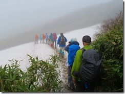 15雪渓をトラバース